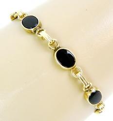 Vintage 14K Gold & Black Onyx Bracelet