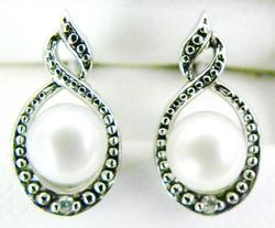 Sterling Pearl & Diamond Accent Earrings