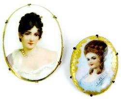 2 Antique Handpainted on Porcelain Portrait Pins