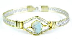2 Tone Sterling Wire Bracelet with Natural Aquamarine