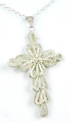 Large Vintage Sterling Silver Filigree Cross & Chain