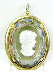 Vintage Large Carved Crystal Cameo Pendant