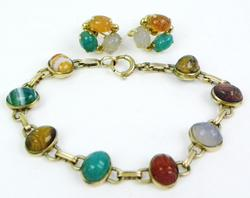 Vintage Gold-Filled Scarab Bracelet & Earrings