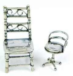 2 Sterling Silver Miniature Doll House Chairs