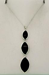 Sterling Silver Inlay Drop Necklace