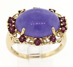 Lovely Purple Jade and Pink Tourmaline Ring