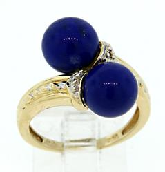 Very Cool Lapis Bypass Ring with Diamonds