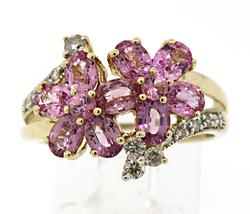 A Pair of Pink Spinel Flower Ring with Diamonds