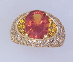 Super Sapphire Ring w 4.5 CT Orange Sapphire Center