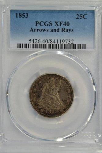 PCGS XF45 Graded 1853 Arrows & Rays Seated Quarter