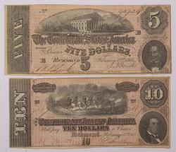 $5 and $10 Feb 17 1864 Series Confederate States Notes
