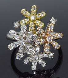 18K Tri Color Gold & Diamond Cluster Ring