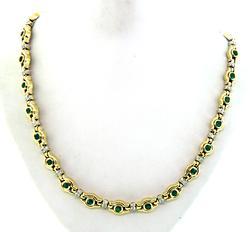 Radiant Emerald & VS Diamond Necklace in 18K