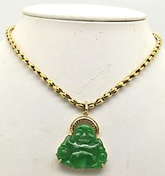 18 KT YELLOW GOLD NECKLACE AND BUDDHA CHARM WITH DIAMON