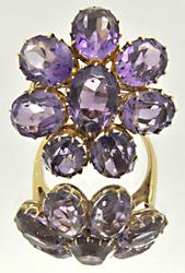 LADIES 14 KT YELLOW GOLD VERY IMPRESSIVE AMETHYST RING.