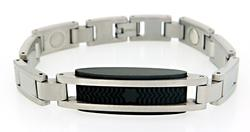 Mont Blanc Steel and Rubber Bracelet