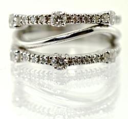 Stunning Diamond and 18K White Gold Triple Band Ring