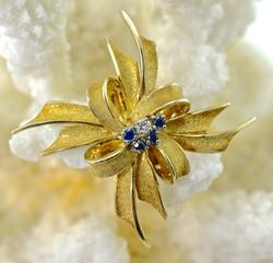 14K Gold Bow Brooch with Sapphires & Diamonds