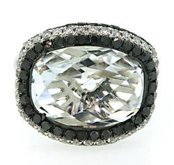 Dramatic White Topaz Cocktail Ring with Diamonds