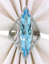 Delightfully Dramatic:Blue Topaz &Diamond Cocktail Ring