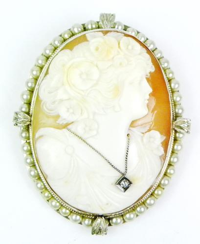 Huge Antique 14K Cameo with Diamond