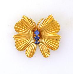 Butterfly Pin with Sapphire Accent 14K Gold