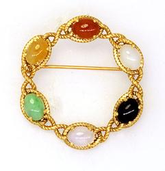 Woven Circle Gold Brooch with Multi-Colored Gems 14K