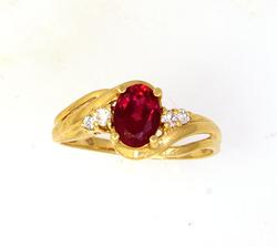Elegant Lady's Lab-Created Ruby Ring in Gold Size 6.5