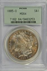 Real nice 1885-O Morgan Silver Dollar. PCGS MS64