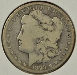 Scarce key date 1893-P Morgan Silver Dollar