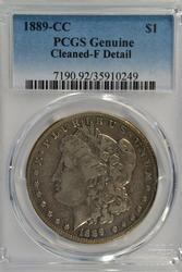 The rare 1889-CC Morgan Silver Dollar. PCGS Fine detail