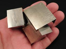 Massive set of 3 naturally entwined Pyrite