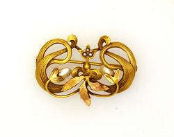 Intricate Seed Pearl and Gold Leaf Ribbon Pin