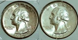 Pair of Silver Washington Quarters: 1958 and 1963