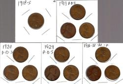 13 Different Lincoln Wheat Cents