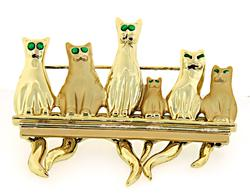 Gold Plated Cat Pin