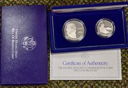 2 x Bill of Rights 2 Coin Silver Proof Commem Sets