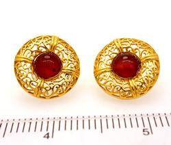 Ornate 21K Gold & Garnet Cobochan Earrings