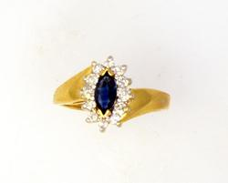 Blue Sapphire & Diamond Ring in Gold, Size 5.5