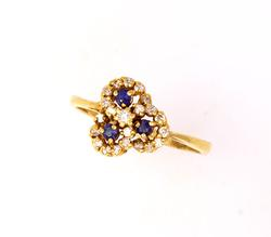 Clover Diamond & Sapphire Ring in Gold, Size 9