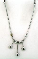 14KT White Gold Dangling Bead Necklace