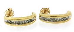14KT Yellow Gold Diamond Huggie Earrings