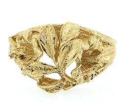 14kt Gold Filigree Leaf Ring