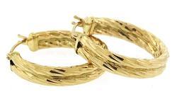 14KT Solid Yellow Gold Hoop Earrings