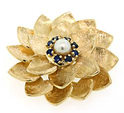 Superb Pearl & Sapphire Flower Brooch