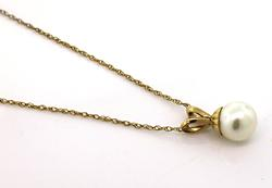 14kt Pearl Solitaire Pendant Necklace