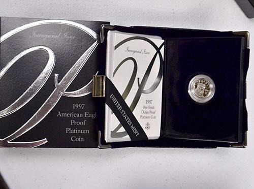 Choice Platinum Proof 1997 $10 US Eagle With Box & Paper