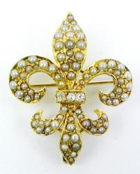 14K Antique Seed Pearls & Diamonds Fleur-De-Lis Brooch