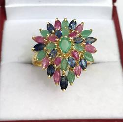 5+ Carat Ruby, Emerald, & Sapphire 14kt Gold Ring