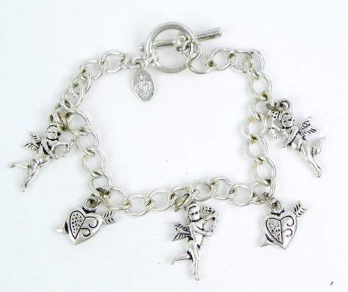 Sterling Charm Bracelet of Cupids & Hearts